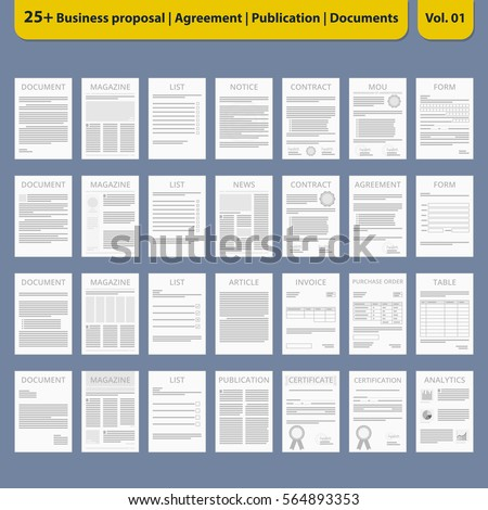 Document icon Contract Business Agreement Document collection Vector Illustration