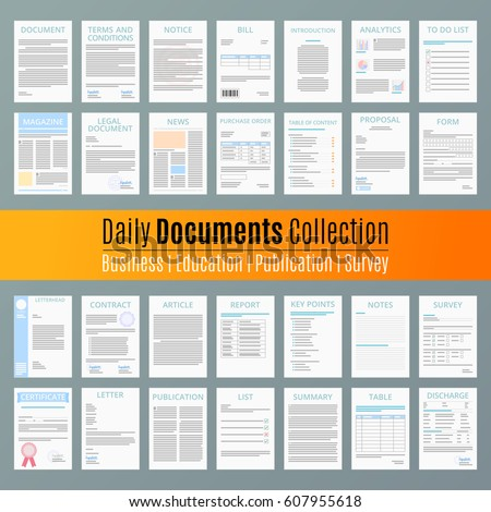 Document icon Contract Business Agreement Publication Education Document collection Vector Illustration