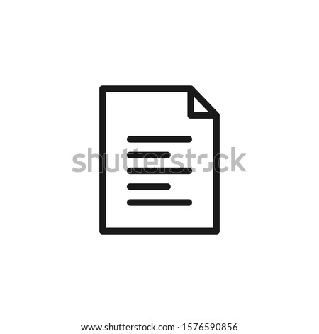 Document icon. File, text document, a sheet of paper document. Pdf, doc symbol for modern websites and mobile app UI designs.