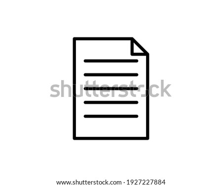 Document icon. File, text document, a sheet of paper document. symbol for modern websites and mobile app UI designs