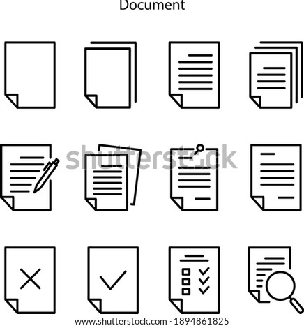 document icon isolated on white background from office collection. document icon trendy and modern document symbol for logo, web, app, UI. document icon set