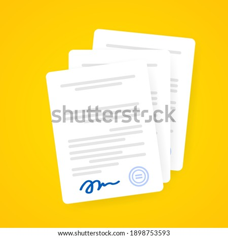 Document icon. Paper documents with signature and text, contract idea. Confirmed or approved document. Vector on isolated background. EPS 10