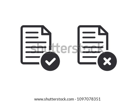 Document icon. Paper icon. Check mark. cross signs. Checkmark OK and  X icons. Symbols YES and NO. Reject file. Accept document. Vector illustration. Color easy to edit. Transparent background.