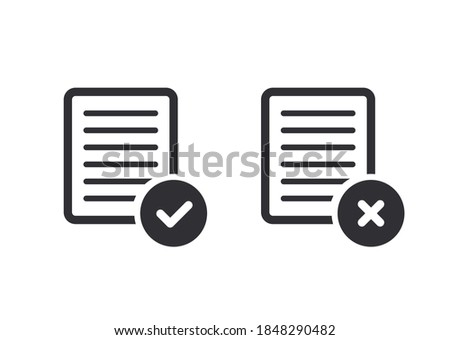 Document icon. Paper icon. Check mark. Symbols YES and NO. Reject file. Accept document. Correctly. Incorrect. Unaccepted document. File fixes. Tasks. Options. Worksheet. Task done. Project completed. ストックフォト ©