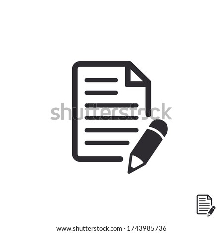 Document icon. Paper icon. Prepare document. Personal document. Copy file. Worksheet icon. File icon. Pictogram letter. Notes file. Office documents. File sharing. Survey. Pencil. Edit document.
