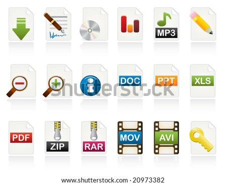 Document Icon Set. Color Vector Icons Series.