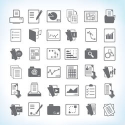 document icon set, paper and file icon set