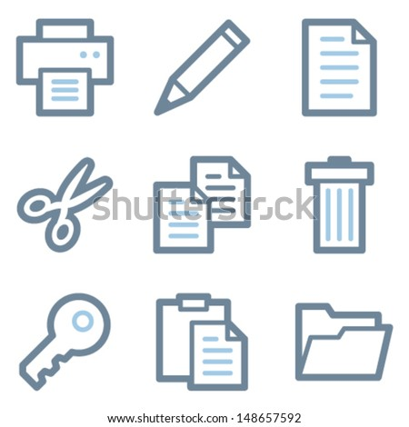 Document icons blue line contour series