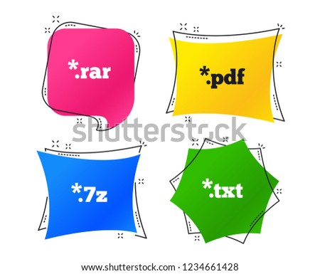 Document icons. File extensions symbols. PDF, RAR, 7z and TXT signs. Geometric colorful tags. Banners with flat icons. Trendy design. Vector