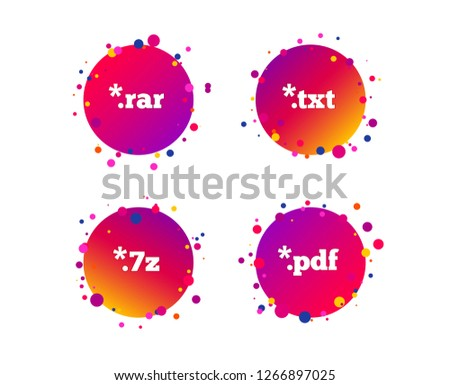 Document icons. File extensions symbols. PDF, RAR, 7z and TXT signs. Gradient circle buttons with icons. Random dots design. Vector