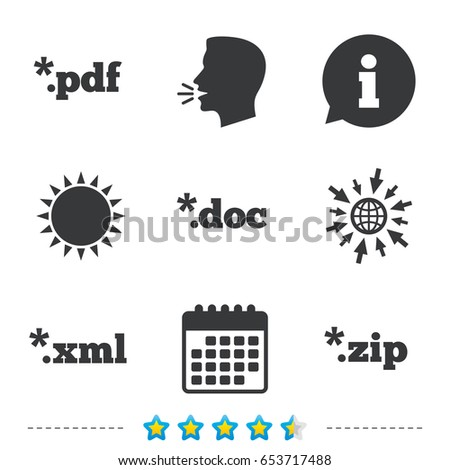 Document icons. File extensions symbols. PDF, ZIP zipped, XML and DOC signs. Information, go to web and calendar icons. Sun and loud speak symbol. Vector