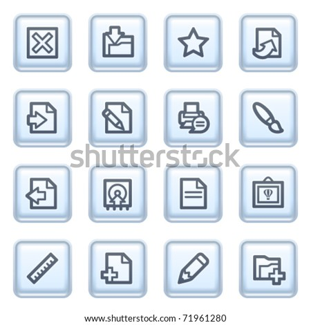 Document icons on blue buttons. - stock vector
