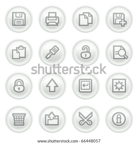 Document icons on gray buttons, set 1. - stock vector