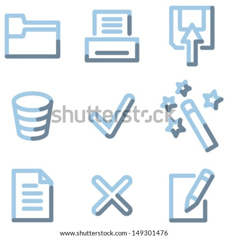 Document icons set 2, light blue contour