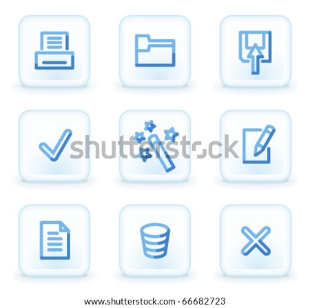 Document icons set 2,  square ice buttons