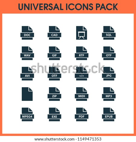 Document icons set with pdf, exe, wav and other doc elements. Isolated vector illustration document icons.
