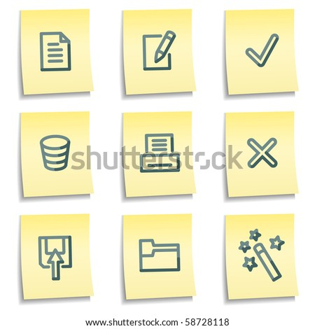 Document icons set 2, yellow notes series