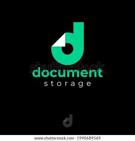 Document logo. Green D monogram. Letter D with bended corner like document blank.  Icon for application, files storage, internet, online docs. Zdjęcia stock ©