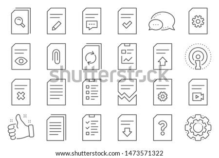 Document Management line icons. Set of Report, Checklist and Copy icons. Download file, Remove and Attach clip symbols. Search, Edit management document and Corrupt report file. Checklist copy. Vector