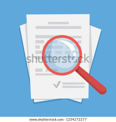 Document paper sheet with magnifying glass on it. Data analyzing and research. File study. Flat vector illustration