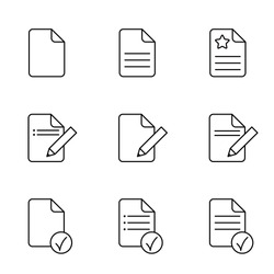 document plan schedule page note outline thin line black vector icons set