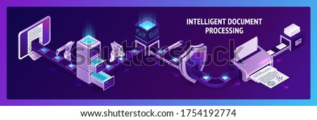 Document processing isometric landing page, archive docs on conveyor belt office paperwork. Robot hands working with database, drawer with files. Business data administration. 3d vector web banner