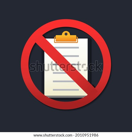 Document prohibited. Paper file forbidden. Clipboard not allowed, stop sign. Illustration vector Foto stock ©
