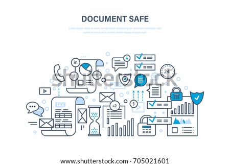 Document safe concept. Document security, data protection, guaranteed integrity of information and messages. Safety of important documents. Illustration thin line design of vector doodles.