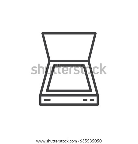 Document scanner line icon, outline vector sign, linear style pictogram isolated on white. Symbol, logo illustration. Editable stroke. Pixel perfect