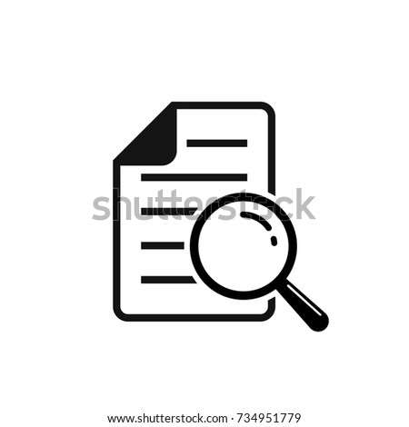 Document search vector icon. Flat style isolated symbol.