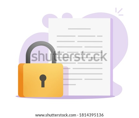 Document secure confidential access on vector or text file privacy protection on flat icon, concept of private secret data lock image symbol Foto d'archivio ©