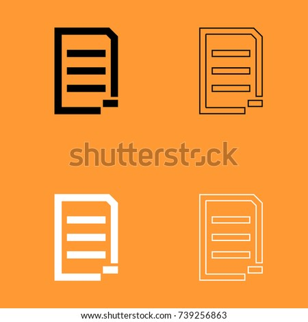 Document sheet substract black and white set icon .