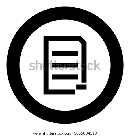 Document sheet substract black icon in circle