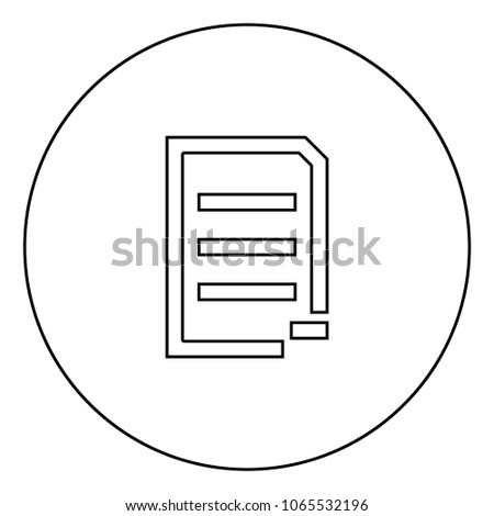 Document sheet substract black icon in circle outline