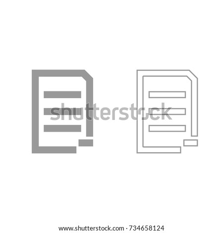 Document sheet substract grey set icon .