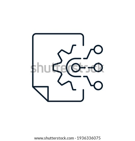 Document, spine, circles, lines. The concept is a multifunctional technology for processing, structuring and integrating data. Vector icon isolated on white background.