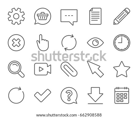 Document, Time and Calendar line icons. Question, Chat and Pencil signs. Cogwheel, Download and Attach clip symbols. Mouse cursor, Magnifier and Shopping cart. Quality design elements. Editable stroke