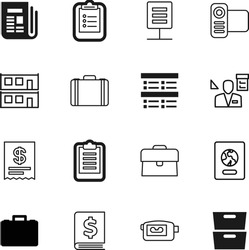 document vector icon set such as: architect, amount, article, international, checkbox, market, checkmark, clip, data, border, receipt, tourist, catalog, network, archive, identification, control