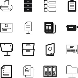 document vector icon set such as: award, article, house, drawer, seal, camcorder, organizer, accounting, news, editing, cupboard, management, financial, catalog, payment, linked, handbook, paperwork