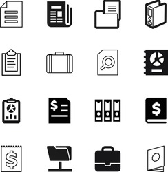 document vector icon set such as: lock, sheet, accounting, app, red, simbol, search, label, dollar, button, front, set, loan, collection, pictogram, lens, economy, open, baggage, catalogue, success