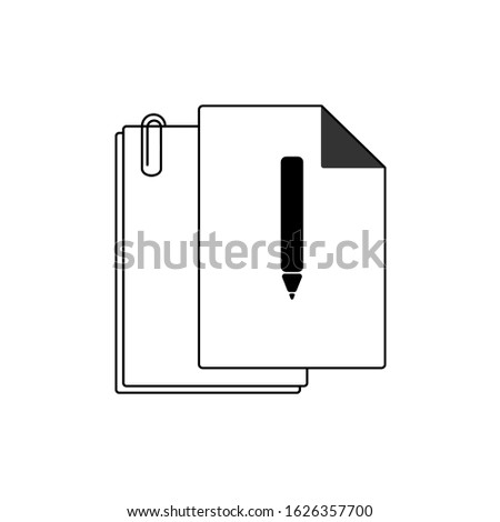 Document vector in white background. This document vector has several paper documents. This document consists of a document, documents clipper and documents icon. Documents line shape illustration.