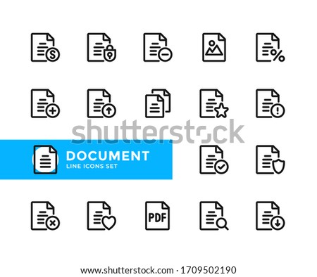 Document vector line icons. Simple set of outline symbols, graphic design elements. Line icons