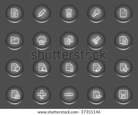 Document web icons, metal circle buttons series