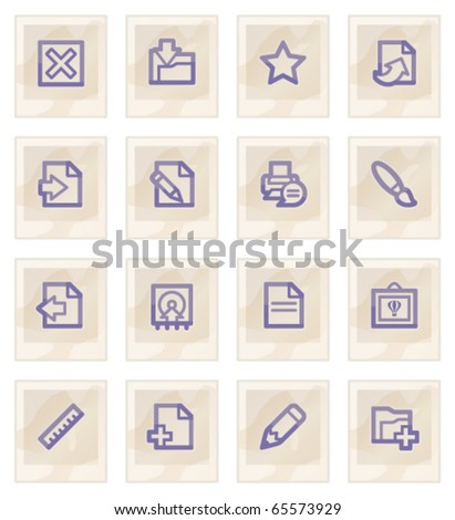 Document web icons, on paper. - stock vector