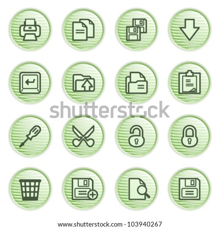 Document web icons, set 1. Green series.