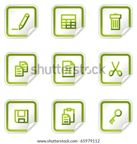 Document web icons set 1, green stickers series