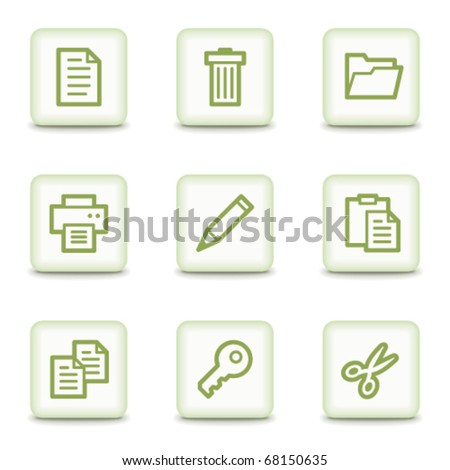 Document web icons set 1, white glossy buttons