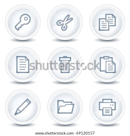 Document web icons set 1, white glossy circle buttons
