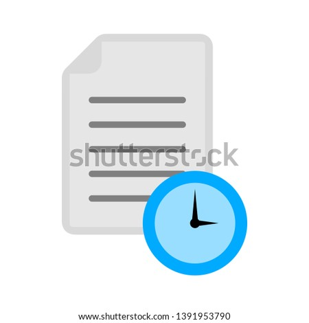 document with Clock sign icon