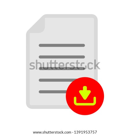 document with download sign - download icon